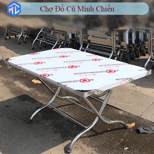 bàn xếp inox 60 x 1m thấp giá rẻ