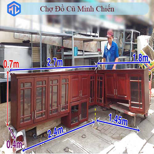 bộ tủ bếp gỗ chữ L căn hộ cao cấp
