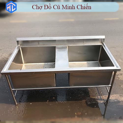 bồn rửa inox công nghiệp 2 ngăn cũ giá rẻ
