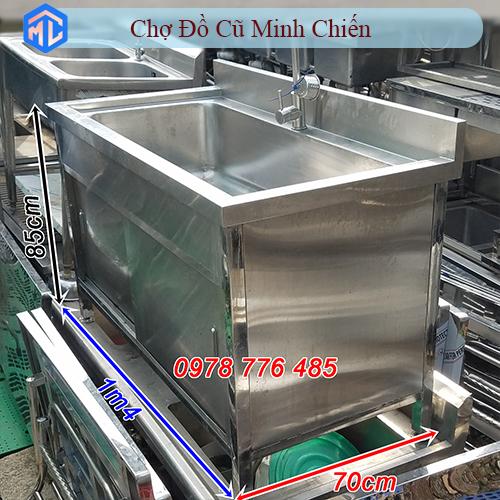 bồn rửa inox 304 1 ngăn lớn có hộc tủ